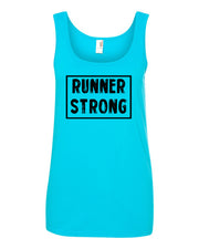 Caribbean Blue Runner Strong Ladies Runner Tank Top
