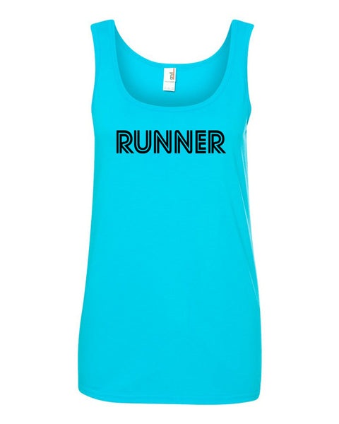 Caribbean Blue Runner Ladies Runner Tank Top