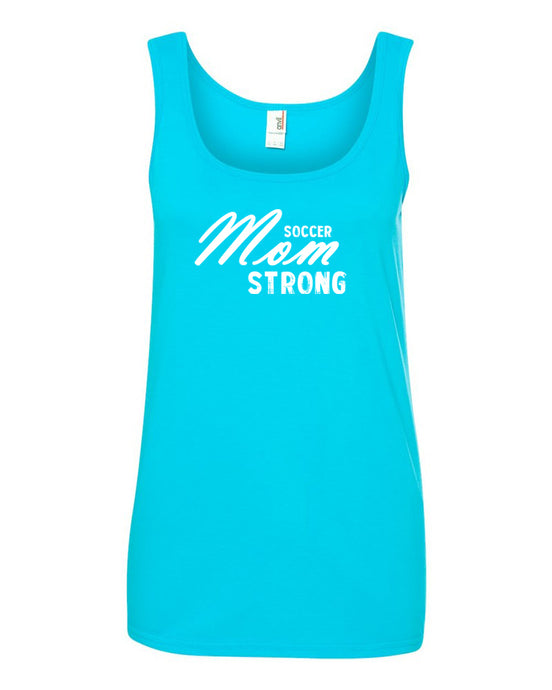 Caribbean Blue Soccer Mom Strong Ladies Soccer Tank Top