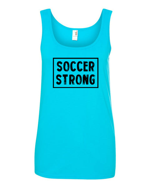 Caribbean Blue Soccer Strong Ladies Soccer Tank Top