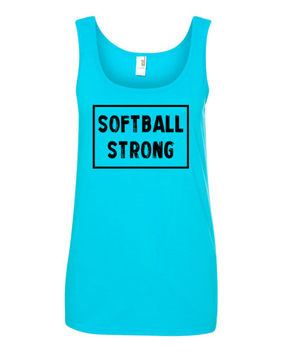 Caribbean Blue Softball Strong Ladies Softball Tank Top With Softball Strong Design On Front