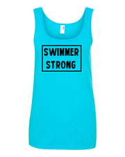 Caribbean Blue Swimmer Strong Ladies Swim Tank Top