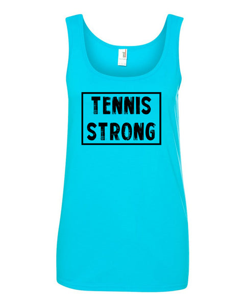 Caribbean Blue Tennis Strong Ladies With Tennis Tank Top With Tennis Strong Design On Front
