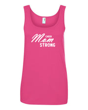 Hot Pink Cheer Mom Strong Ladies Cheer Tank Top With Cheer Mom Strong Design On Front