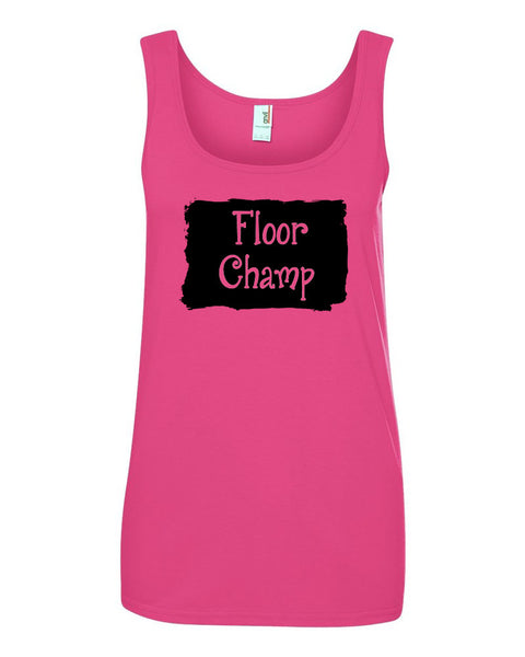 Hot Pink Champ Ladies Gymnastics Tank Top With Floor Champ Design On Front