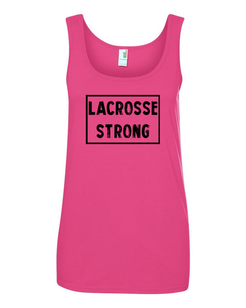Hot Pink Lacrosse Strong Ladies Lacrosse Tank Top With Lacrosse Strong Design On Front