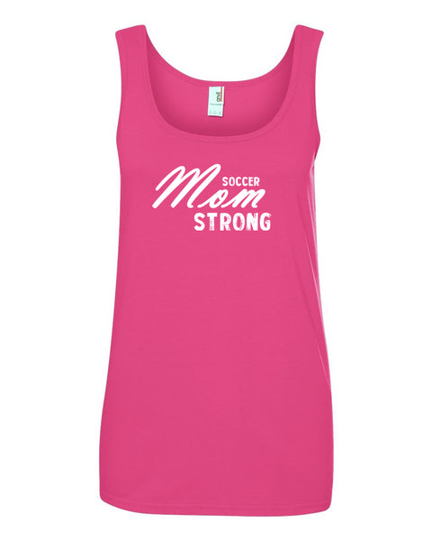 Hot Pink Soccer Mom Strong Ladies Soccer Tank Top