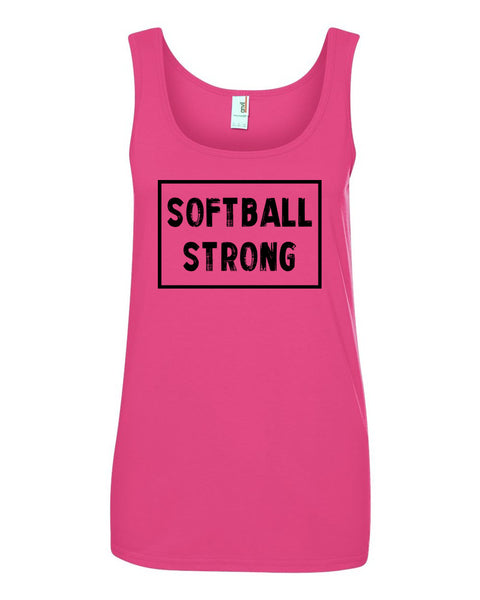 Hot Pink Softball Strong Ladies Softball Tank Top With Softball Strong Design On Front