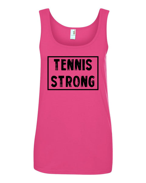 Hot Pink Tennis Strong Ladies With Tennis Tank Top With Tennis Strong Design On Front