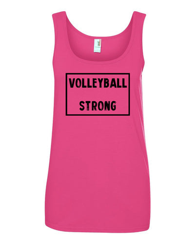 Hot Pink Volleyball Strong Ladies Volleyball Tank Top