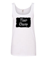 White Floor Champ Ladies Gymnastics Tank Top With Floor Champ Design On Front