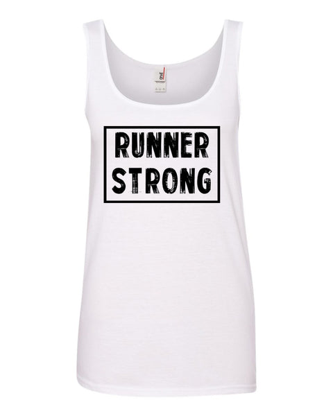 White Runner Strong Ladies Runner Tank Top