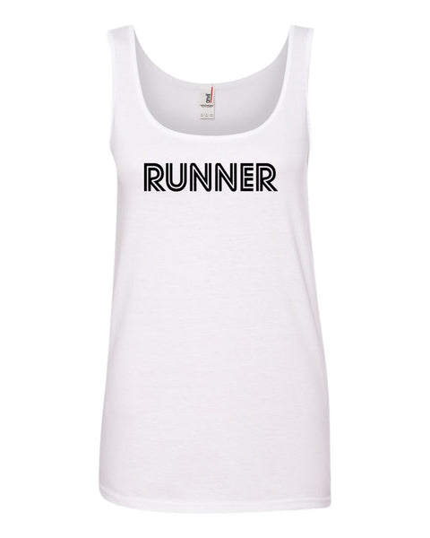 White Runner Ladies Runner Tank Top