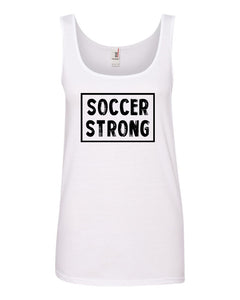 White Soccer Strong Ladies Soccer Tank Top