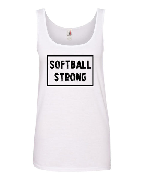 White Softball Strong Ladies Softball Tank Top With Softball Strong Design On Front
