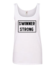 White Swimmer Strong Ladies Swim Tank Top