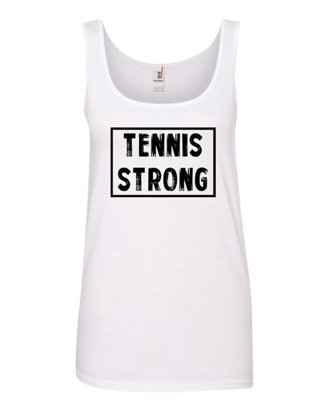 White Tennis Strong Ladies With Tennis Tank Top With Tennis Strong Design On Front