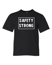 Black Safety Strong Kids Football T-Shirt