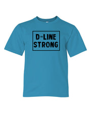 Caribbean Blue D-Line Strong Kids Football T-Shirt