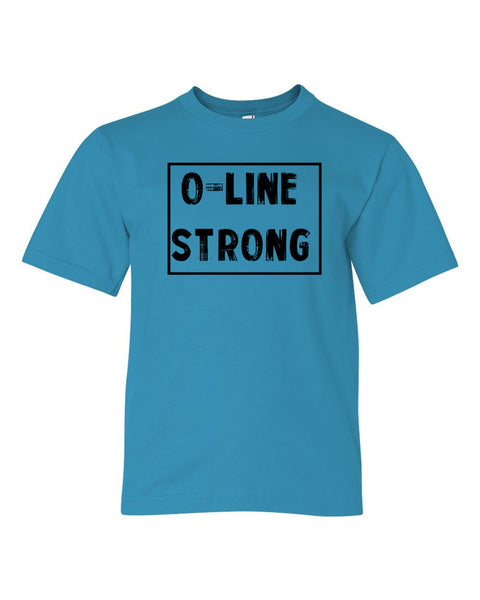 Caribbean Blue O-Line Strong Kids Football T-Shirt