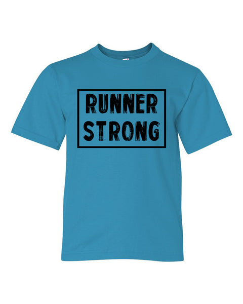 Caribbean Blue Runner Strong Boys Runner T-Shirt
