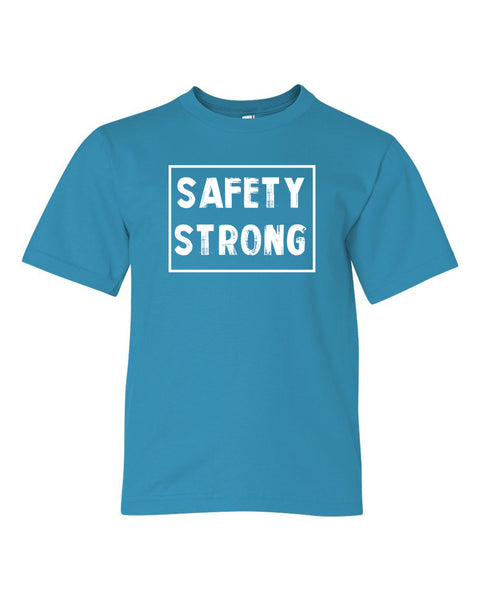Caribbean Blue Safety Strong Kids Football T-Shirt