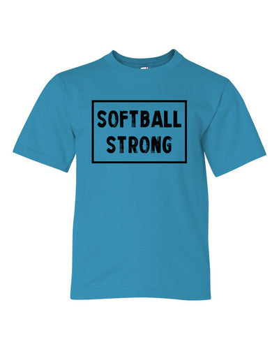 Caribbean Blue Softball Strong Kids Softball T-Shirt With Softball Strong Design On Front