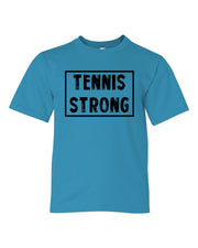 Caribbean Blue Tennis Strong Boys Tennis T-Shirt With Tennis Strong Design On Front