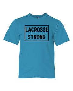 Caribbean Blue Lacrosse Strong Kids Lacrosse T-Shirt With Lacrosse Strong Design On Front