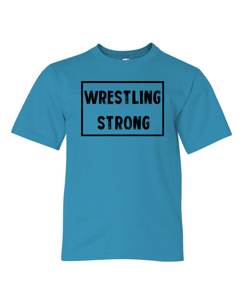 Caribbean Blue Wrestling Strong Boys Wrestling T-Shirt With Wrestling Strong Design On Front