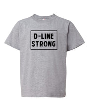 Heather Gray D-Line Strong Kids Football T-Shirt