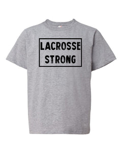 Heather Gray Lacrosse Strong Kids Lacrosse T-Shirt With Lacrosse Strong Design On Front
