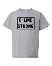Heather Gray O-Line Strong Kids Football T-Shirt
