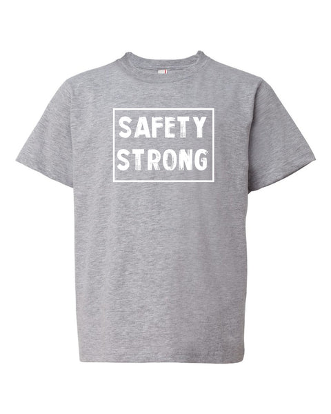 Heather Gray Safety Strong Kids Football T-Shirt