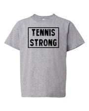 Heather Gray Tennis Strong Boys Tennis T-Shirt With Tennis Strong Design On Front