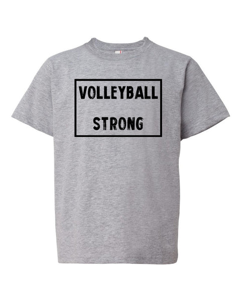 Heather Gray Volleyball Strong Kids Volleyball T-Shirt