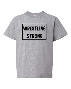 Heather Gray Wrestling Strong Boys Wrestling T-Shirt With Wrestling Strong Design On Front