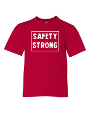 Red Safety Strong Kids Football T-Shirt