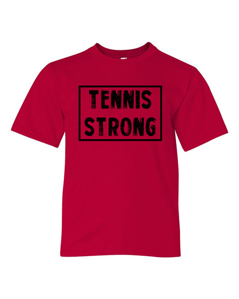 Red Tennis Strong Boys Tennis T-Shirt With Tennis Strong Design On Front