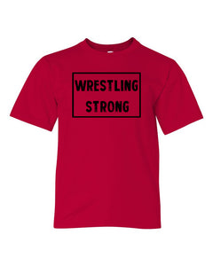 Red Wrestling Strong Boys Wrestling T-Shirt With Wrestling Strong Design On Front