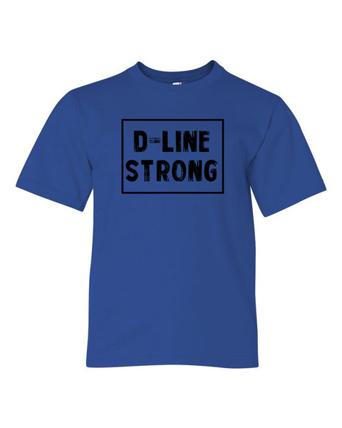 Royal Blue D-Line Strong Kids Football T-Shirt