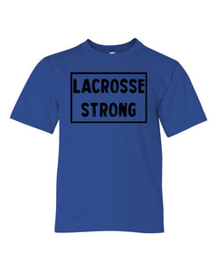 Royal Blue Lacrosse Strong Kids Lacrosse T-Shirt With Lacrosse Strong Design On Front