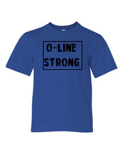 Royal Blue O-Line Strong Kids Football T-Shirt