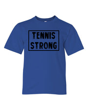 Royal Blue Tennis Strong Boys Tennis T-Shirt With Tennis Strong Design On Front