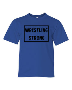 Royal Blue Wrestling Strong Boys Wrestling T-Shirt With Wrestling Strong Design On Front