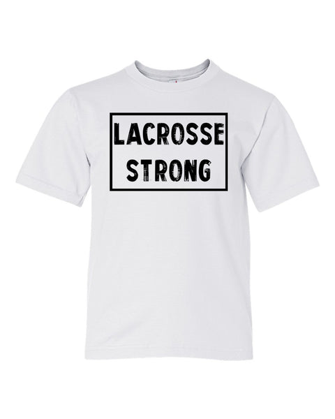White Lacrosse Strong Kids Lacrosse T-Shirt With Lacrosse Strong Design On Front