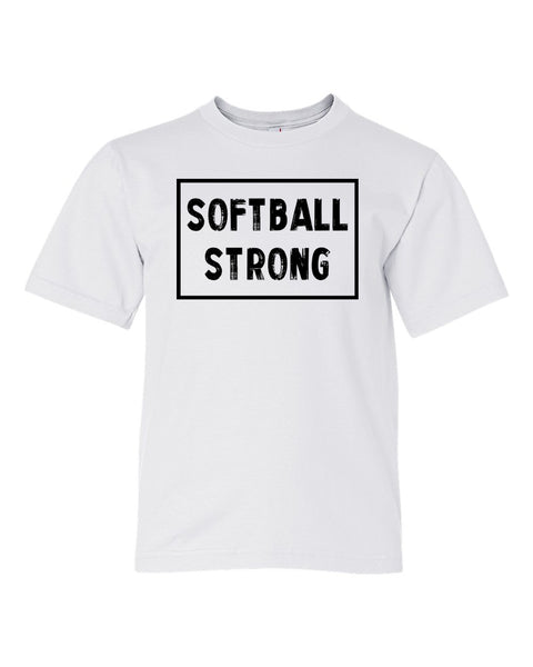 White Softball Strong Kids Softball T-Shirt With Softball Strong Design On Front