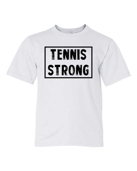 White Tennis Strong Boys Tennis T-Shirt With Tennis Strong Design On Front
