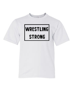 White Wrestling Strong Boys Wrestling T-Shirt With Wrestling Strong Design On Front
