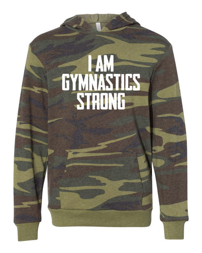 I Am Gymnastics Strong Youth Camo Hoodie